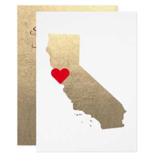 Platinum Metallic Foil California Wedding Card