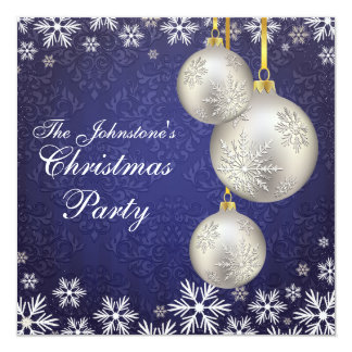 Platinum Silver Christmas Balls Blue 13 Cm X 13 Cm Square Invitation Card