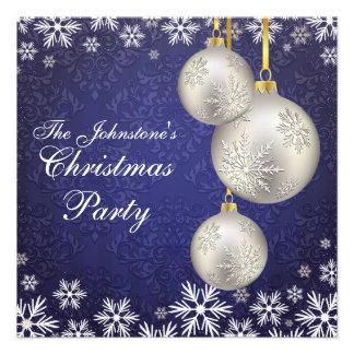 Platinum Silver Christmas Balls Blue Invitations