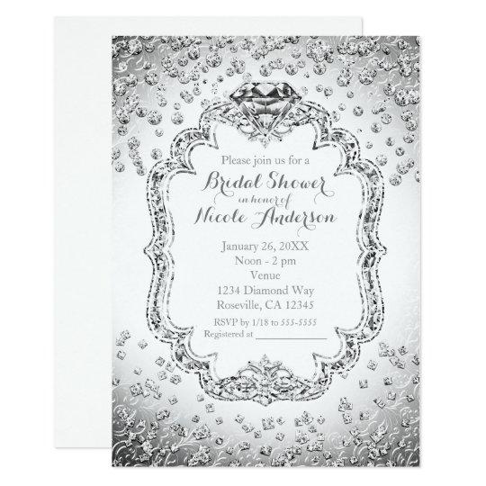 Platinum white silver diamond bling invitations zazzle for Black and white bling wedding invitations