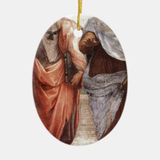 Plato and Aristotle Ceramic Oval Decoration