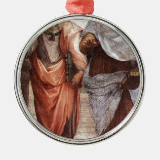 Plato and Aristotle Silver-Colored Round Decoration