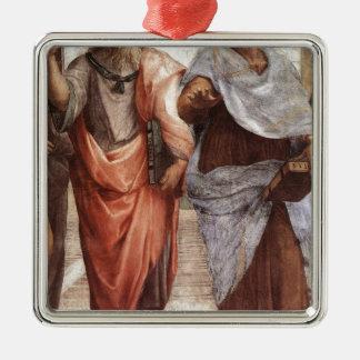 Plato and Aristotle Silver-Colored Square Decoration