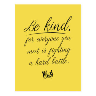 Plato 'Be kind' quote wisdom postcard