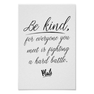 Plato 'Be kind' quote wisdom poster