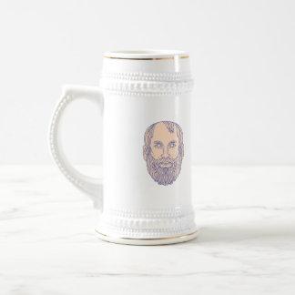 Plato Greek Philosopher Head Mono Line Beer Stein