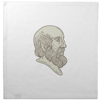 Plato Greek Philosopher Head Mono Line Napkin