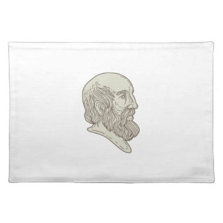 Plato Greek Philosopher Head Mono Line Placemat