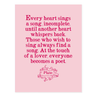 Plato - Love/Song/Poetry Quote Postcard