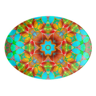 Platter Floral Fractal Art G410