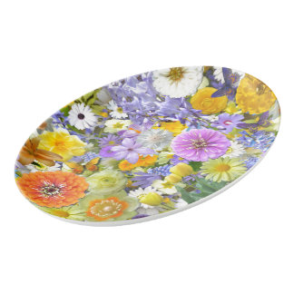 Platter - Flowers and Butterflies Porcelain Serving Platter