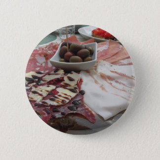 Platter of cold cuts with rustic ham prosciutto 6 cm round badge