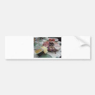 Platter of cold cuts with rustic ham prosciutto bumper sticker