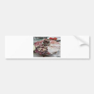 Platter of cold cuts with rustic ham prosciutto bumper sticker