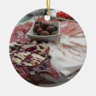 Platter of cold cuts with rustic ham prosciutto ceramic ornament
