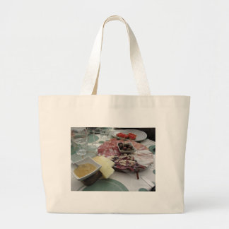 Platter of cold cuts with rustic ham prosciutto large tote bag
