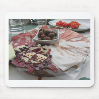 Platter of cold cuts with rustic ham prosciutto mouse pad
