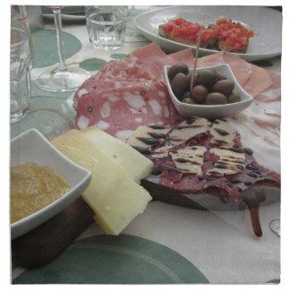 Platter of cold cuts with rustic ham prosciutto napkin