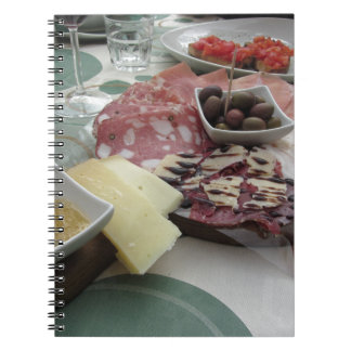 Platter of cold cuts with rustic ham prosciutto notebook