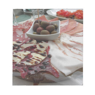 Platter of cold cuts with rustic ham prosciutto notepads