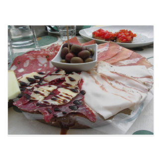 Platter of cold cuts with rustic ham prosciutto postcard