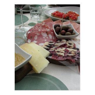 Platter of cold cuts with rustic ham prosciutto postcard