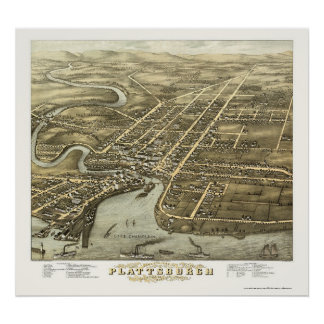 Plattsburgh, NY Panoramic Map - 1877 Poster