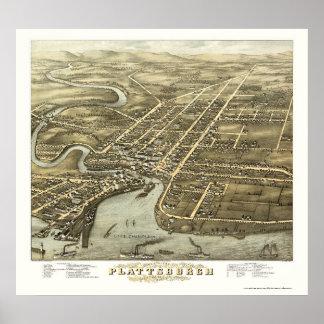 Plattsburgh, NY Panoramic Map - 1877 Poster
