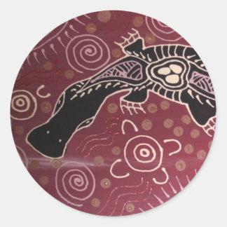 Platypus Dreaming Red by Mundara Koorang Round Sticker