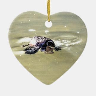 PLATYPUS IN WATER EUNGELLA AUSTRALIA CERAMIC HEART DECORATION