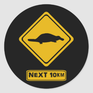 platypus road sign round sticker