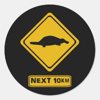 platypus road sign round sticker