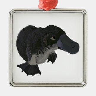 Platypus Silver-Colored Square Decoration