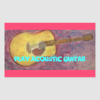 Play Acoustic Guitar Rectangular Sticker