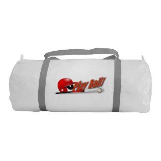 Play Ball! Red Baseball Gym Bag Gym Duffel Bag