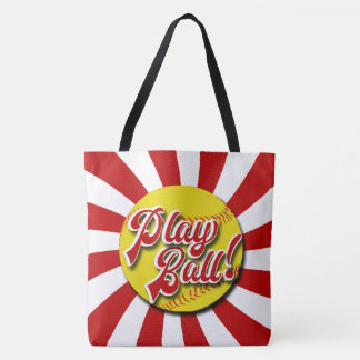 Play Ball! Red & White Softball Tote (Rebels)