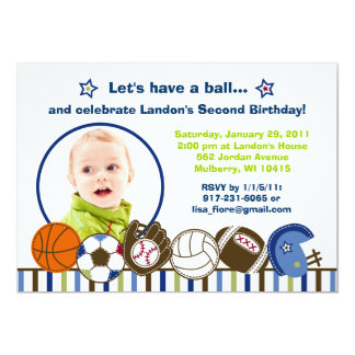Play Ball Sports Custom Photo Birthday Invitations