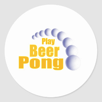 Play Beer Pong Round Sticker