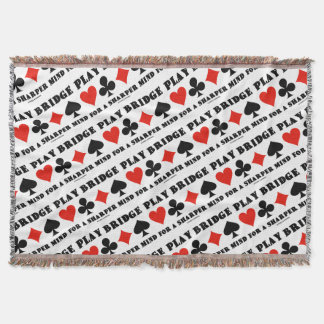 Play Bridge For A Sharper Mind Four Card Suits Throw Blanket