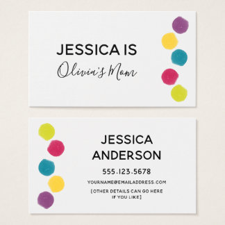 Play Date Card w/ Colorful Watercolor Dot Accents