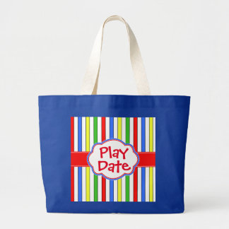 Play Date Cute Colorful Stripes Jumbo Tote Bag