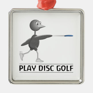 Play Disc Golf Silver-Colored Square Decoration