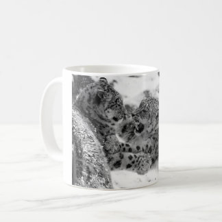 Play-Fighting Snow Leopard Brothers Coffee Mug