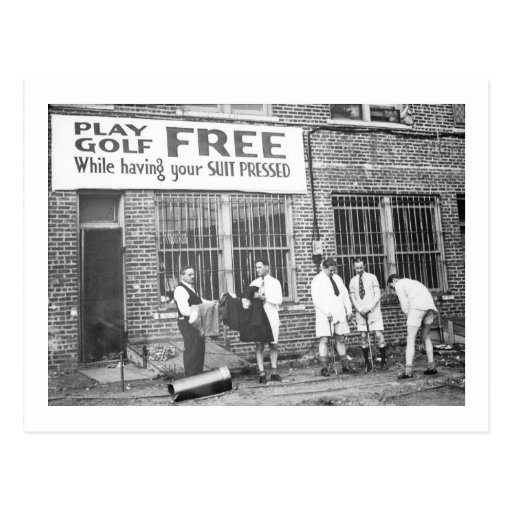 Play Golf Free (While Having Your Suit Pressed) Post Card