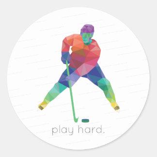 Play Hard Hockey Origami Round Sticker