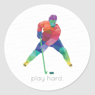 Play Hard Hockey Origami Classic Round Sticker
