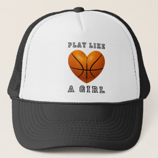 Play like a girl basketball trucker hat
