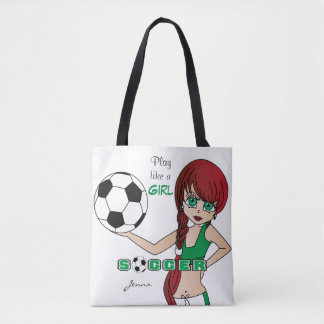 Play Like a Girl Green Soccer Tote Bag