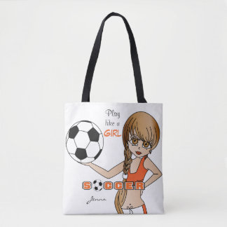 Play Like a Girl Orange Soccer Tote Bag