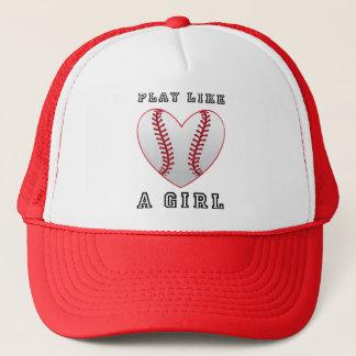 play like a girl softball trucker hat